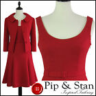 NEW NEXT UK14 US10 RED SWING DRESS SUIT 50S STYLE EMPIRE LINE WOMENS LADIE
