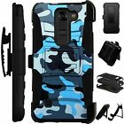 For LG / HTC Rugged Cover Holster Hybrid Case BLUE CAMO CAMOUFLAGE LuxGuard