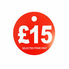 £15 ROUND PRICE DISPLAY CARD  HANGER SWING TICKETS FOR MARKET & RETAIL DISPLAY