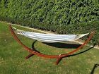 """ProSource Wooden Curved Arc Hammock Stand W/Hammock for Outdoor Patio 10.5"""" Long cheap"""