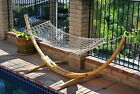 "ProSource Wooden Curved Arc Hammock Stand W/Hammock for Outdoor Patio 10.5"" Long"