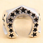 Unisex Silver Horseshoe Lucky 13 Black Stars Punk Stainless Steel Ring Size 9-13