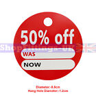 '50% OFF' ROUND PRICE DISPLAY CARD SWING TICKETS FOR RETAIL SALE DISPLAY