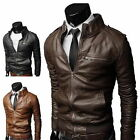 New Men's Fashion Jackets Collar Slim Motorcycle Leather Jacket Coat Outwear