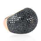 Black Pave Diamond Solid Rose Gold Dome Fine Ring Jewelry For Women
