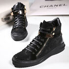 2016 Men's Real Leather High Top Shoes Lace Up Hidden Heel Ankle Boots Shoes