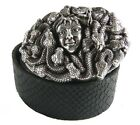 Perpetual Vogue Medusa Belt Black Leather Belt Medusa Belt Buckle, Medusa Design
