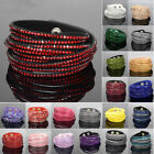 Fashion New Rhinestone Bracelet Leather Wrap Wristband Cuff Punk Bangle Silver