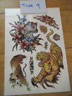 1x SHEET MENS BOYS TEMPORARY TATTOOS CARTOON TIGERS BLACK UK SELLER FREE P&P