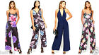 New Womens Ladies Sexy  Plunge Floral Jumpsuit Party Wedding Club Evening Day
