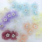 5 x chiffon flower  diamante bows pink ivory white pink lemon  38mm x 30mm