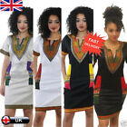 Women's African Print Short Sleeve Dress Ladies Evening Party Cocktail Dresses