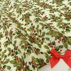 Cream Victorian Holly Christmas Fabric 100 % cotton  per 1/2 mtr or per FQ