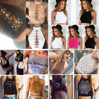 Women Sleeveless Crop Tops Backless Vest Halter Tank Tops Short Blouse T-Shirt