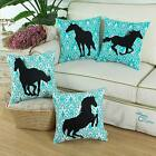 SET OF 4 CaliTime Turquoise Gray Horse Animal Cushion Throw Pillows Covers Decor