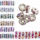 100p Czech Crystal Rhinestone Silver Rondelle Spacer Beads  6mm