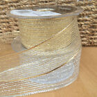 Berisfords Christmas Tinsel Mesh  Ribbon gold or silver 2 widths per 2 metres