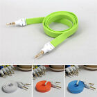 New 3.5mm Male to Male Car Stereo Audio AUX Flat Cable Cord for MP3 Cellphone CO