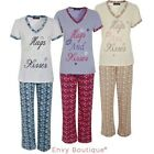 "Ladies Womens Pyjama Set ""Hugs & Kisses"" Nightwear Pajama Suit Pjs"