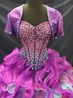 NEW Disney Princess Collection 41021 Purple Turquoise Strapless XV Quince Dress