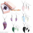 3pc/Set Angel's Wing Pendant Necklace Gemstone Quartz Crystal Hook Earrings Box
