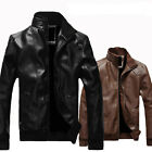 Men's Fashion Slim Fit Collar Motorcycle Biker Leather Jacket Coat Outwear