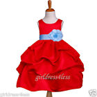 RED SKY BLUE PICK UP JR. BRIDESMAID FLOWER GIRL DRESS 6M 12M 18M 2 4 6 7 8 10 12
