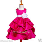 FUCHSIA/WHITE PARTY WEDDING PICK UP FLOWER GIRL DRESS 6M 12M 18M 2 3/4 6 8 10 12