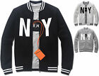Mens Slim Fit NY Baseball Jumper Blouson Jacket Blazer Outwear Top W015 - S/M