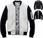 Mens Slim Fit Embo Baseball Jumper Blouson Jacket Blazer Outwear Top W023 - S/M