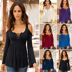 Sexy Womens Off Shoulder Lace Up New Blouse T-Shirt Casual Slim Long Sleeve Tops
