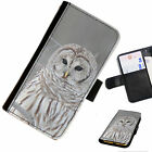 BIR17 WHITE OWL PRINTED LEATHER WALLET/FLIP PHONE CASE COVER FOR ALL MODELS