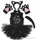 Party Kids Child Black Cat 6PC Headband Paw Tail Bow Shirt Gauze Skirt Costume