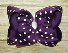 X-Large 6 inch Purple & White Polka Dot Grosgrain Ribbon Hair Bow
