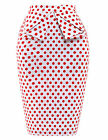 VINTAGE Pin Up 40s 50s 60s Cotton Polka Dots Floral Wiggle Pencil Bodycon Skirt