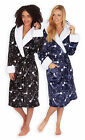 Ladies Shooting Star Bathrobe New Womens Hooded Fleece Dressing Gown UK 8-22