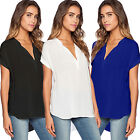 Women Ladies Summer V Neck Tops T-shirt Casual Loose Tee Blouse Plus Size S-4XL