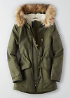 AEO American Eagle Women Long Parka Fur Hooded Coat Jacket Green XS S M L NWT