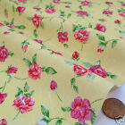 per metre/FQ cream yellow & pink  floral polycotton fabric dressmaking/craft