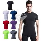 New Men Tight Slim Short Sleeve T-Shirts Sports Compression Gym Fitness Tops