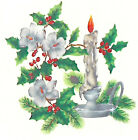 Ceramic Decals Christmas Candle Pine Bough Flower Holly Berries (62) image