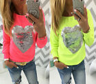 New Fashion Womens Ladies Long Sleeve Crew Neck T-Shirt Tops Casual Loose Blouse
