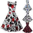 Women Vintage 1950's Floral Spring Hepburn Style Garden Party Dress  TB