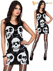 Ladies Sequin Skeleton Costume Halloween Skull Fancy Dress Womens Dazzle Outfit