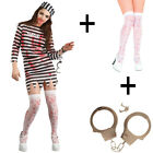 Ladies Zombie Convict Halloween Fancy Dress Costume + Stockings + Handcuffs New