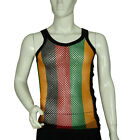 FITTED - Rasta Stripe - 100% Cotton - String Vest Mesh Fishnet Muscle Top