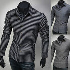 Mens New Luxury Slim Business Casual Dress Shirts Long Sleeve Formal Top W839