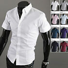 New Mens Luxury Short Sleeve Business Casual Dress Shirts Formal Tops W338 XS-XL