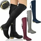 Womens Ladies Over The Knee Flat Boots Faux Suede Thigh High Tassel Shoes Size