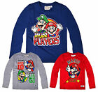 Boys Nintendo Super Mario Long Sleeved T-Shirt New Kids Mario Bros Tops 4-10 Yrs
